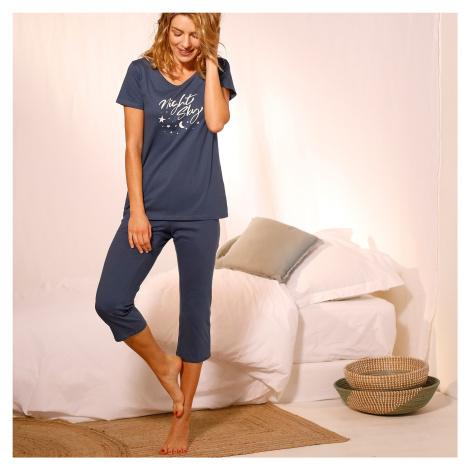 """Blancheporte Pyžamo se 3/4 kalhotami a potiskem """"Night"""" nám.modrá"""