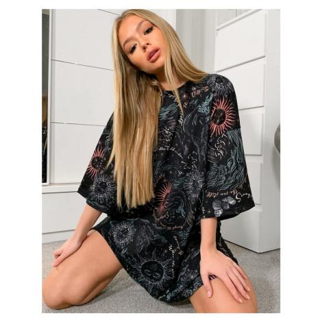 ASOS DESIGN oversized t-shirt dress in black with celestial all over print