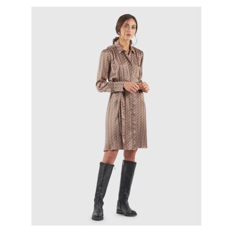 Šaty La Martina Woman Printed Vi Satin Dress - Hnědá