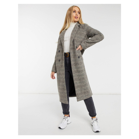 Monki Lou check wool double breasted coat in brown
