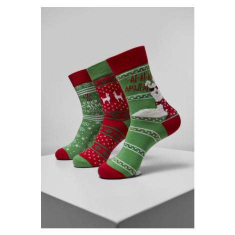 Urban Classics Christmas Lama Socks 3-Pack multicolor