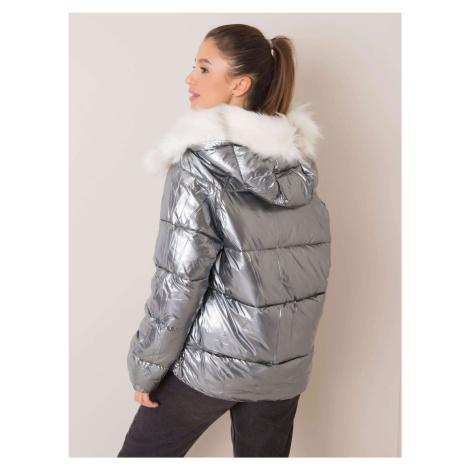 Béžová a stříbrná oboustranná zimní bunda s kožešinou
