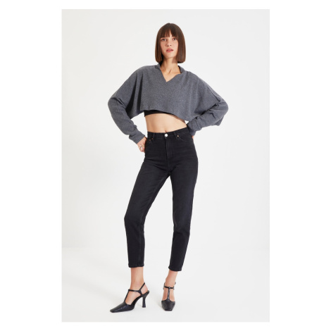 Trendyol Anthracite Ribbed Super Crop Knitted Blouse