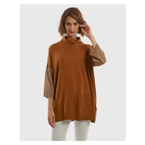 Svetr La Martina Woman Tneck Sweater Viscose Si - Hnědá
