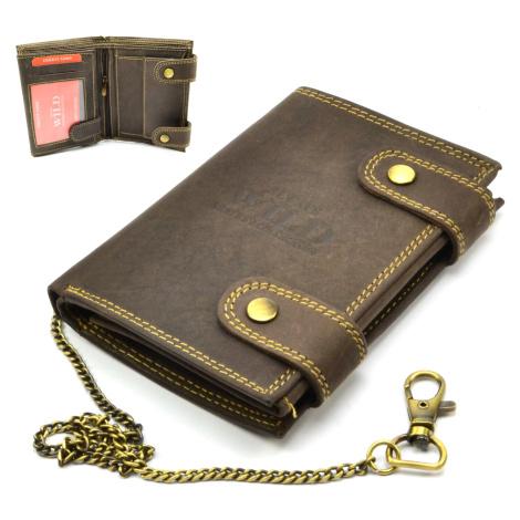 Kožená hnědá peněženka pánská s přezkou Wild