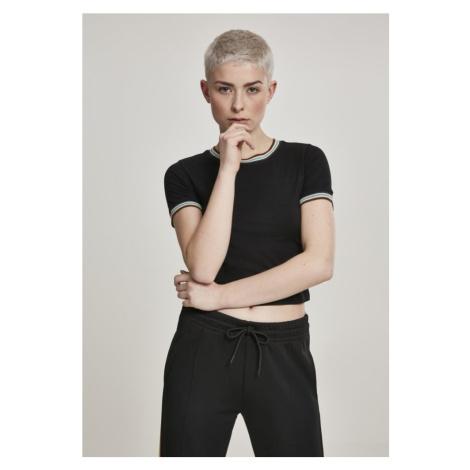 Ladies Short Multicolor Rib Tee - black Urban Classics