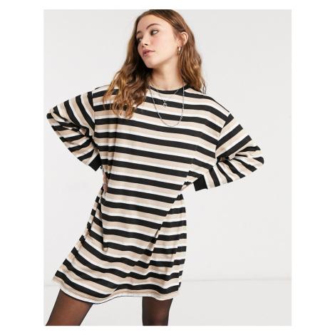 ASOS DESIGN oversized long sleeve t-shirt dress in camel stripe-Multi