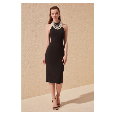 Trendyol Black Pearl Accessory Detailed Dress