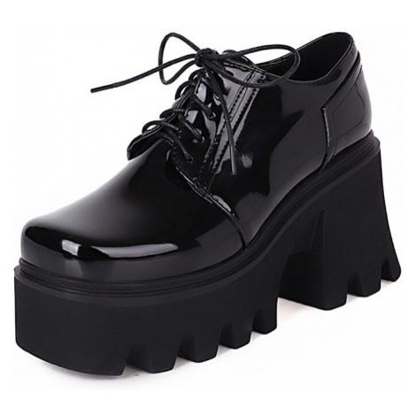 Šněrovací polobotky dámské lesklé boty na vysoké platformě