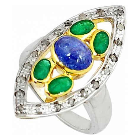 AutorskeSperky.com - Stříbrný prsten s tanzanitem,smaragdy a diamanty 0.50 kt - S3035