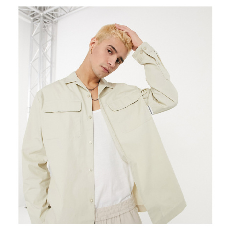 COLLUSION long sleeve utility shirt in stone