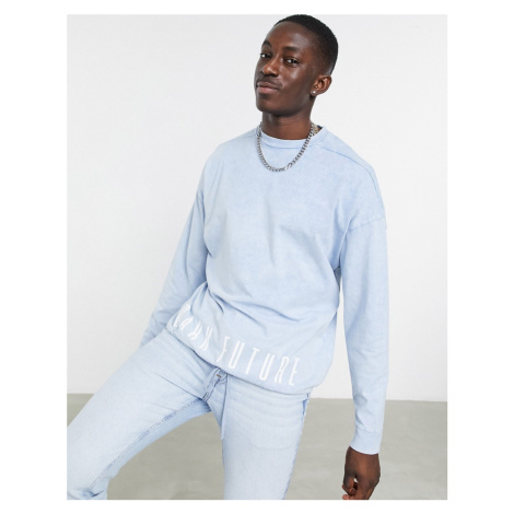 ASOS Dark Future oversized long sleeve t-shirt with drawcord hem in blue wash