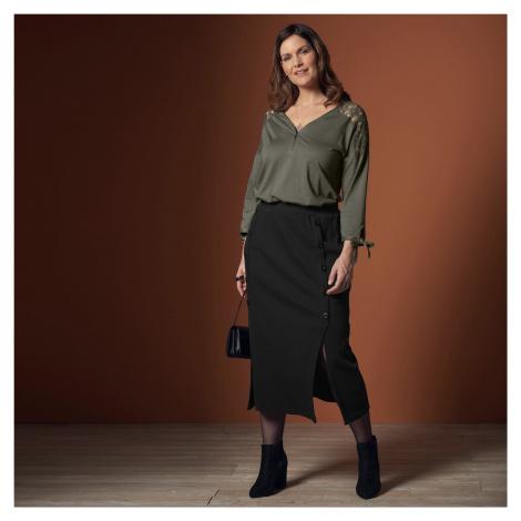 Blancheporte Polodlouhá sukně s knoflíky černá