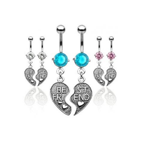Dvojitý piercing do pupíku - přepůlené srdce BEST FRIEND - Barva piercing: Růžová Šperky eshop