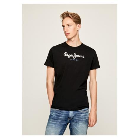 Pepe Jeans pánské černé tričko s bílým nápisem EGGO