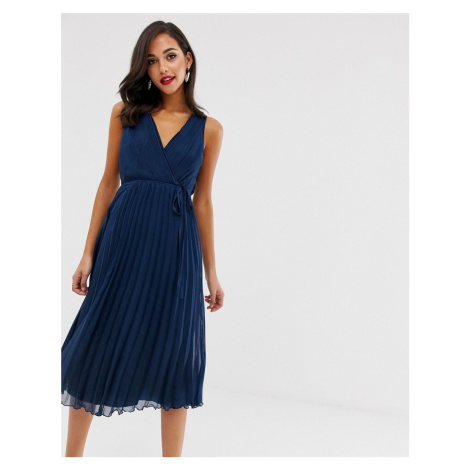 ASOS DESIGN wrap bodice midi dress with tie waist and pleat skirt-Navy