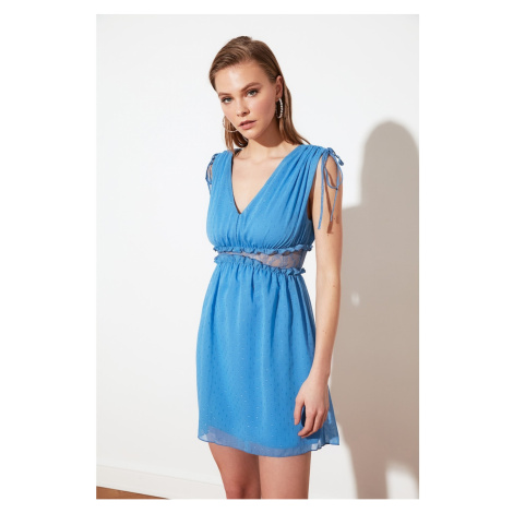 Trendyol Special Fabric Dress with Blue Waist Lace Detail