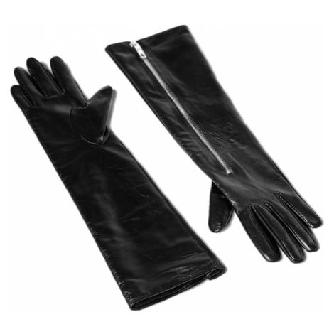 Dlouhé černé kožené rukavice - KARL LAGERFELD