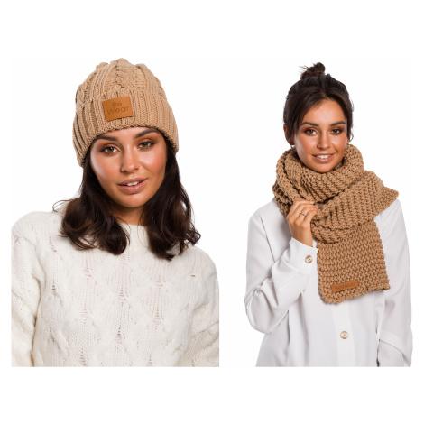 Dámský zimní set pletená čepice + šála sada s koženým logem