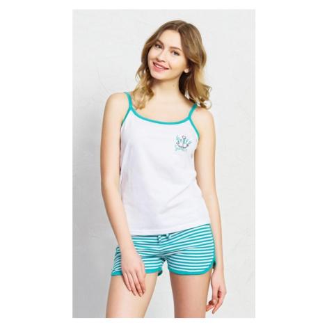 Dámské pyžamo šortky na ramínka Summer, XL, bílá/tmavě modrá Vienetta Secret