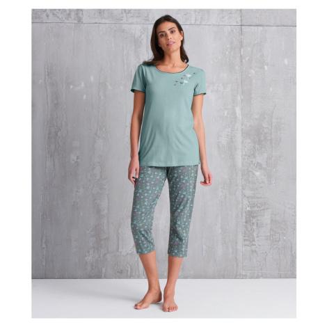 Blancheporte Pyžamové tričko s potiskem květin a krátkými rukávy zelenkavá