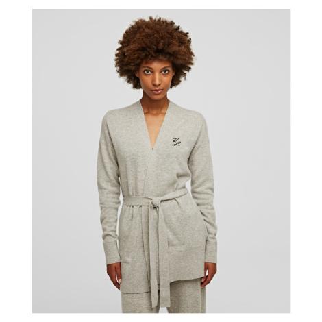Svetr Karl Lagerfeld Wool Cashmere Wrap Cardigan - Bílá