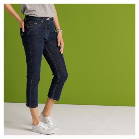 Blancheporte 3/4 kalhoty s push-up efektem, brut, eco-friendly tmavě modrá
