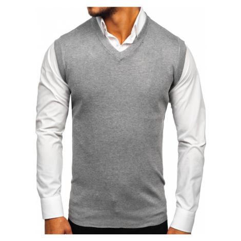 Šedá pánská pletená vesta Bolf W01
