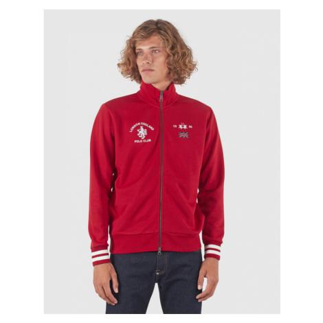 Mikina La Martina Man Compact Full Zip Fleece - Červená