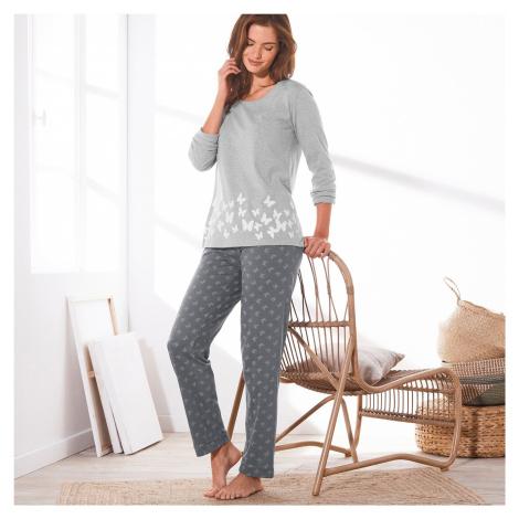 Blancheporte Pyžamo s dlouhými rukávy a potiskem motýlků šedý melír