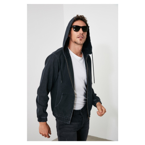 Trendyol Anthracite Men's Zip Hooded Slim Fit Denim Jacket