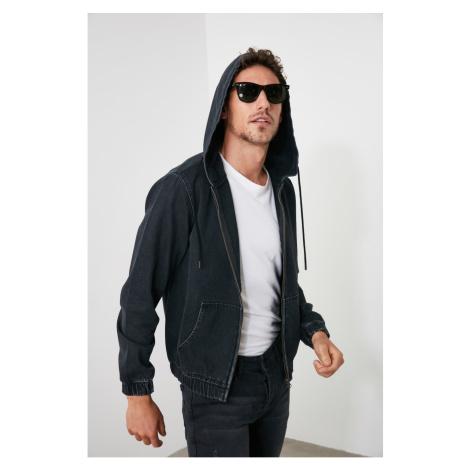 Trendyol Anthracite Men's Zippered Hooded Denim Jacket