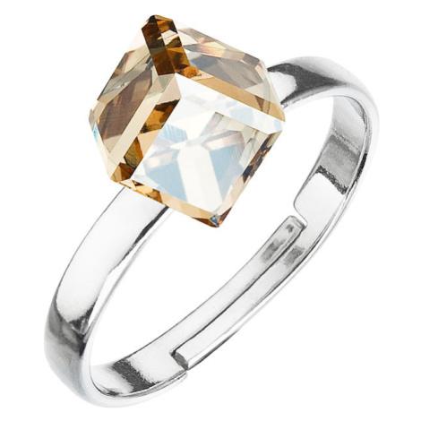 Evolution Group Stříbrný prsten s krystaly zlatá kostička 35011.5