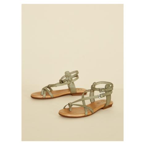 OJJU zelené kožené sandály