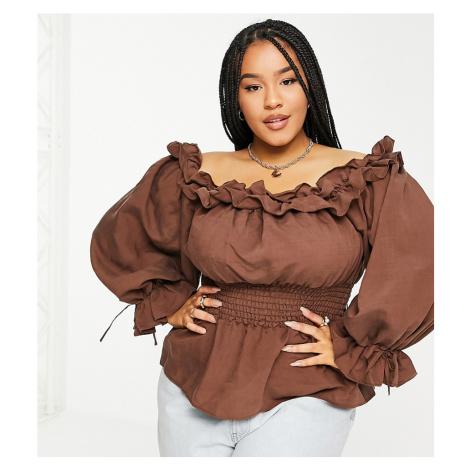 River Island Plus shirred waist bardot blouse in brown