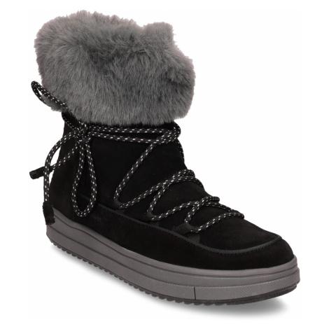 Černé dětské kožené sněhule s kožíškem Geox