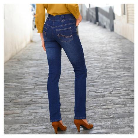 Blancheporte Rovné džíny s vysokým pasem, pro malou postavu tmavě modrá