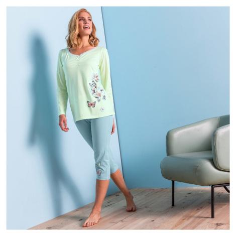 Blancheporte Pyžamové tričko s dlouhými rukávy, středový potisk motýlů anýzová