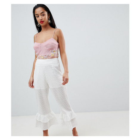 Lost Ink Petite Broderie Trousers With Tiered Peplum Hem-White