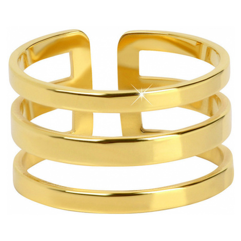 Troli Stylový trojitý prsten z pozlacené oceli