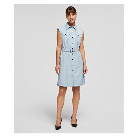 Šaty Karl Lagerfeld Faux Leather Dress - Modrá