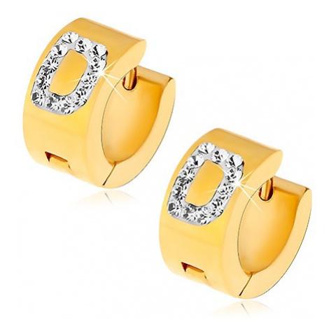 Kruhové náušnice z oceli 316L zlaté barvy, písmeno D s čirými zirkony Šperky eshop
