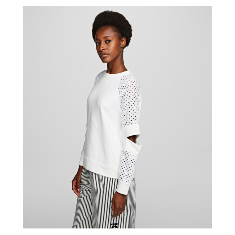 Mikina Karl Lagerfeld Cut Out Lace Slv Sweat Top - Bílá