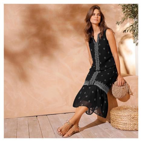 Blancheporte Voálové šaty s potiskem černá/bílá