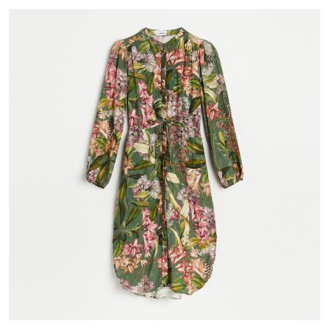 Reserved - Květované košilové šaty - Khaki