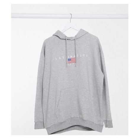 Daisy Street Plus oversized hoodie with los angeles print-Grey