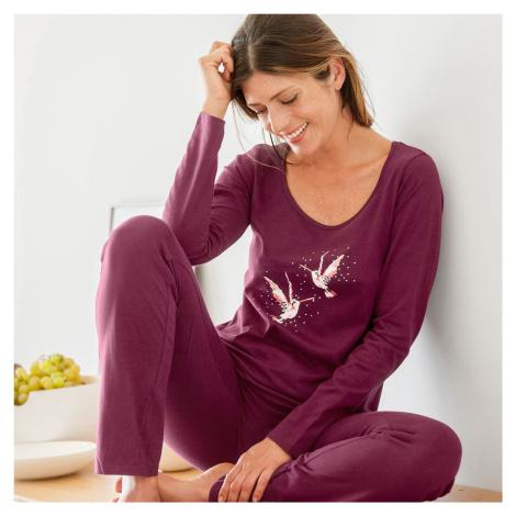 Blancheporte Pyžamo s dlouhými rukávy a potiskem ptáků třešňová