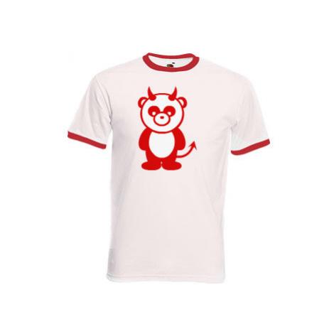 Pánské tričko s kontrastními lemy Panda čertík