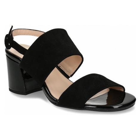 Černé dámské kožené sandály na stabilním podpatku Högl