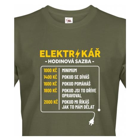 Pánské tričko pro elektrikáře - Hodinová sazba BezvaTriko